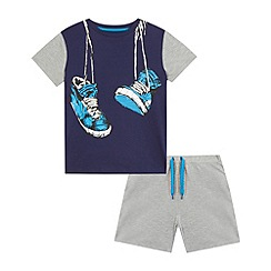 bluezoo - Boys' navy trainer print pyjama set