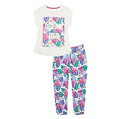 bluezoo - Girls' multi-coloured floral print 'Dream Big' pyjama t-shirt and bottoms set