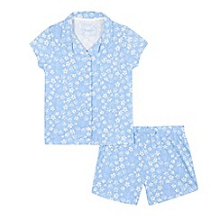 bluezoo - Girls' blue daisy print pyjama shirt and shorts set