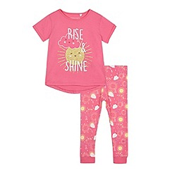 bluezoo - Girls' pink 'Rise & Shine' pyjama t-shirt and bottoms set