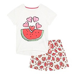 bluezoo - Girls' pink and white watermelon print pyjama t-shirt and a shorts set