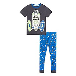 bluezoo - Boys' blue 'wake and skate' print pyjama set
