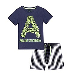 bluezoo - Boys' navy 'Awesome' print t-shirt and shorts set
