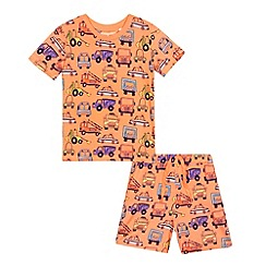 bluezoo - Boys' orange transport print pyjama top and bottoms set