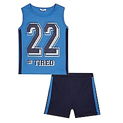 bluezoo - Boys' blue 'Tired' slogan print vest and shorts set