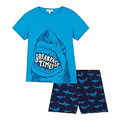 bluezoo - Boys' blue 'Breakfast time' print pyjama top and shorts set