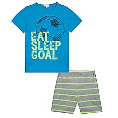 bluezoo - Boys' blue 'Eat, Sleep, Goal' slogan print pyjama set