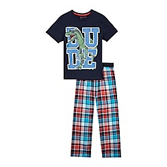 bluezoo - Boys' multi-coloured checked print pyjama top and bottoms set