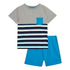 bluezoo - Boys' grey blue pyjama t-shirt and shorts set