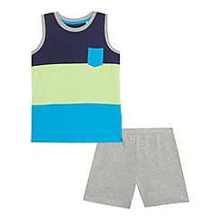 bluezoo - Boys' green colour block vest and shorts set