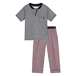 J by Jasper Conran - Boys' navy fine stripe pyjama top and gingham print bottoms set
