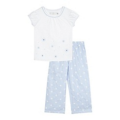 J by Jasper Conran - Girls' white and blue daisy embellished pyjama set