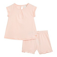 J by Jasper Conran - Girls' pink spotted print pyjama t-shirt and shorts set