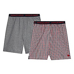 J by Jasper Conran - Pack of two boys' red gingham and navy fine stripe print pyjama shorts