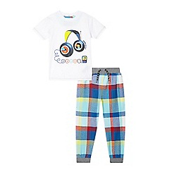 Baker by Ted Baker - Boys' white headphones pyjama top and checked bottoms set