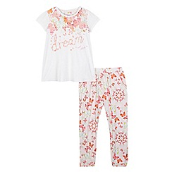 Baker by Ted Baker - Girls' off-white 'butterfly dreams' pyjama t-shirt and bottoms set