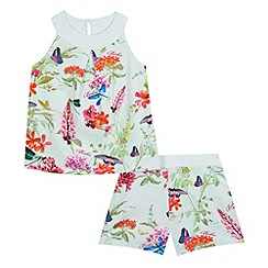 Baker by Ted Baker - Girls' green butterfly print pyjama top and shorts set