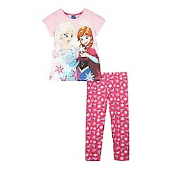 Disney Frozen - Girls' pink 'Frozen pyjama t-shirt and bottoms set