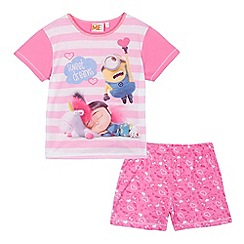 Despicable Me - Girls' pink 'Minion' print pyjama top and shorties set