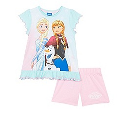 Disney Frozen - Girls' lilac 'Frozen' print pyjama top and shorts set