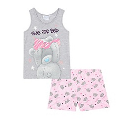 Me to you - Girls' grey and pink 'Tatty bear' pyjama vest and shorts set