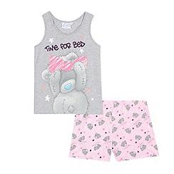 Me to you - Girls' grey and pink 'Tatty bear' pyjama vest and shorts set