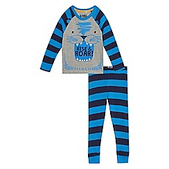 bluezoo - Boys' blue 'Rise & Roar' glown in the dark pyjama set