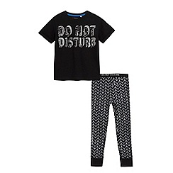bluezoo - Boys' black 'Do not disturb' print t-shirt and leggings set