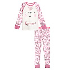 bluezoo - Girls' pink 'purrrrfect' print pyjama set