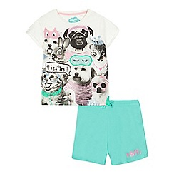 bluezoo - Girls' white 'Besties' print pyjama top and shorts set