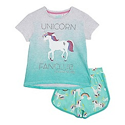 bluezoo - Girls' green unicorn print pyjamas t-shirt and shorts set