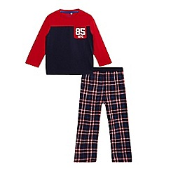 bluezoo - Boys' red and navy long sleeved pyjama top and checked print bottoms set