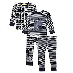 bluezoo - Pack of two boys' grey and navy printed pyjama sets