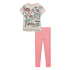 bluezoo - Girls' multi-coloured slogan print pyjama top and bottoms set