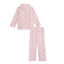bluezoo - Girls' pink heart and star fleece pyjama set