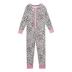 bluezoo - Girls' multi-coloured button down leopard print pyjama onesie