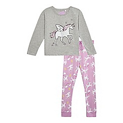 bluezoo - Girls' grey unicorn print pyjama set
