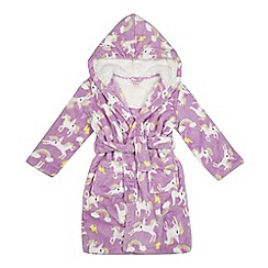 bluezoo - Girls' lilac unicorn print dressing gown