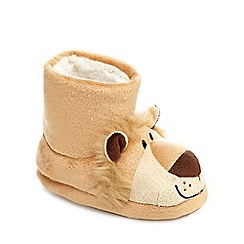 bluezoo - Boys' brown lion slipper boots
