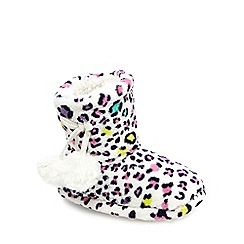 bluezoo - Girls' multi-coloured leopard print slipper boots