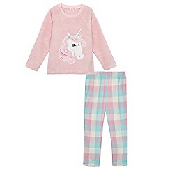bluezoo - Girls' pink unicorn pyjama top and bottoms set