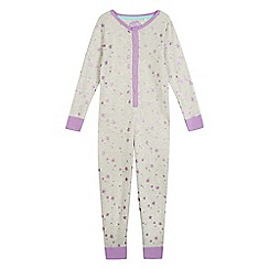 bluezoo - Girls' lilac and grey star print pyjama onesie