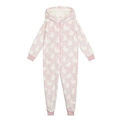 bluezoo - Girls' pink bunny print pyjama onesie