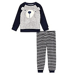 bluezoo - Boys' navy bear applique pyjama set
