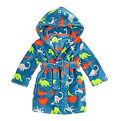 bluezoo - Boys' blue dinosaur print dressing gown