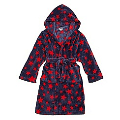 bluezoo - Boys' blue star print hooded dressing gown