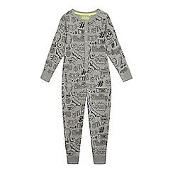 bluezoo - Boys' grey doodle print pyjama onesie