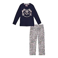 bluezoo - Girls' multi-coloured cat face and leopard print pyjama set
