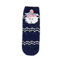bluezoo - Girls' navy sheep knitted slipper socks in a gift box