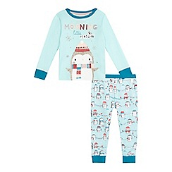 bluezoo - Girls' aqua penguin print pyjama top and bottoms set